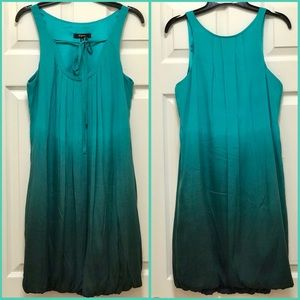 Express Silk Ombré Jade Green/Teal Bubble Dress